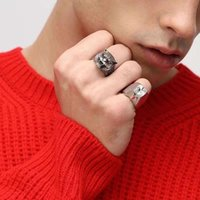 Sterling silver tiger head ring personality fashion purple diamond eyes domineering men's designer high-quality jewelry