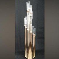 Parti Dekorasyon Şamdan Metal Mum Tutucular Uzun Tutucu Şamdan Masa Centerpiece Altın / Gümüş Şamdan Standı Sütun Yudao14