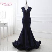 Real Photo Navy Blue Mermaid Long Evening Dresses In Stock V-Neck Beaded Ruffles Cheap In Stock Formal Prom Dresses Evening Wear 2017