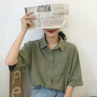 Women's T-Shirt Casual Solid Short Sleeve T-shirts Loose Retro Harajuku Basic Tops Korean Fashion Chic Preppy Style Summer Clothes For Women