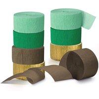 Novità Articoli 8 Rotoli Verde Crepe Paper Streamer Streamer Nappe per Stile rustico Doccia Bridal Bridal Birthday Party Decorations