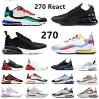 Bauhaus 270 React Mens Running Shoes 트리플 블랙 화이트 스크립트 황혼 보라색 270s 사파리 메탈릭 골드 남성 여성 아웃 도어 트레이너 스포츠 스니커즈 Nike Air Max 270 React Airmax