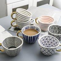 Yaratıcı El Boyalı Büyük Kupalar Altın Kolu Ile Geometri Desen Seramik Kahve Çay Süt Kupası Düzensiz Şekil Ev Dekorasyonu