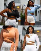 Women's T-Shirt Fashion Women Solid Color Sexy Tie Up Crop Top One-shoulder Long Sleeve Cut Out Casual Party Club Streetwear Clothes AA2089