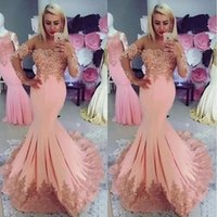 Stylish Mermaid Lace Evening Dresses Off The Shoulder Long Sleeves Formal Dress Floor Length Plus Size Satin Pearls Prom Gowns
