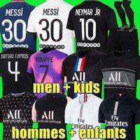 "Hakimi Sergio Ramos Maillot de Foot 21 22 축구 유니폼 2021 Mbappe Neymar Shirt 남자 키즈 옴므 팬츠 메시 3RD 블랙 PSG ""Maillots Verratti Marquinhos Di Maria"