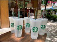 Starbucks Becher 24oz / 710ml Kunststoff-Tumbler wiederverwendbarer Strohmilch-Tee-kaltes Wasser-Tasse