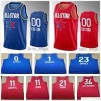 Personalizado impreso 2020 All-Star Baloncesto Jerseys Jokic Joven Walker Leonard Lillard Mitchell Sabonis Booker Doncic AntetokounMpo Siakam Men Mujeres Mujeres Jóvenes Camisas