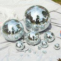 10 15 20CM Rotating Mirror Wedding Glass Ball Light Christmas Party Cake Disco Decor Multiple Style Reflective Sashes