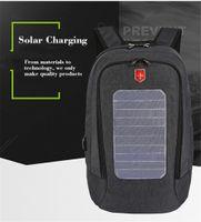 Sac à dos Étanche Panneau solaire Hommes USB Chargements 15,6 pouces Sacs à dos pour ordinateur portable Sacs de voyage Sacs de voyage Daypacks Mâchila Mâchila