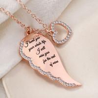 أجنحة إلكتروني ملاك القلب مع قلادة الماس أجنحة الملاك قلادة قلادة