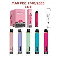 Max Pro Dispositif jetable E Kits de cigarette E 1700/2000 Puffs Vape Stylo 3,5 ml Vaporisateur 16Couleurs PK ONee Stick Airbar Bang Buff XXL XXL