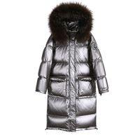 Women's Down & Parkas Plus Big Size Parka Women Winter Puffer Coat Sliver Streetwear Long Puffy Jacket Hat Female Coats Fur Collar Outerwear
