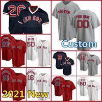 Boston Custom Red Sox Baseball Jersey 50 Mookie Betts Base Flex 9 Ted Williams 16 Andrew Benintendi 34 David Ortiz 12 Brock Holt 7 Vazquez
