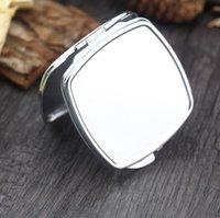 50 unids bricolaje maquillaje espejo hierro 2 cara sublimación en blanco chapado de aluminio niña regalo cosmético compacto espejo decoración portátil