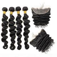 Cabelo indiano solta pacotes de cabelo humano profundo com fecho kinky cacheado reto 3 4 pacotes com laço frontal peruano onda de onda profunda