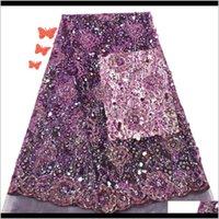 Odzież odzież Afryki Wysokiej Jakości Purpurowa tkanina z cekinami Francuski Tulle Koronki dla Nigerii Party Drop Dostawa 2021 KJG9O
