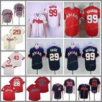 은퇴 한 99 Rick Vaughn Baseball Jersey 28 Corey Kluber 29 Satchel Paige 52 Mike Clevinger 1948 1976 빈티지 레트로 쿠퍼스 타운 메쉬 스티치