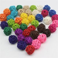 100PCS Lot 3CM Mixed Color Rattan Ball DIY Ornaments Home Ornament Christmas Birthday Wedding Party Kids Gifts Decorations