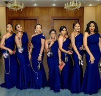 2020 Royal Blue Mermaid Bridesmaid Dresses One Shoulder Sweep Train African Wedding Guest Gowns Maid Of Honor Dress Plus Size
