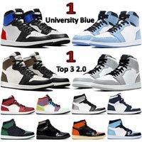 Alto 1 1s Zapatillas de baloncesto Top Top 3 2.0 Toe de plata Mocha Dark Mocha Mid Light Smoke Grey UNC Hombres Mujeres Zapatillas