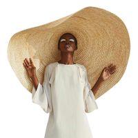 Tiktok امرأة الأزياء الكبيرة الشمس قبعة الشاطئ مكافحة الأشعة فوق البنفسجية حماية قطب القش طوي غطاء المتضخم لطواء ظلة sunhat # l5 ins قبعات قبعات بريم فيدورا دلو