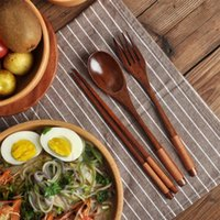 Spoons 3Pc set Natural Wood Spoon Chopsticks And Fork Dinner Set Rice Soup Tableware Grain Handmade Household Kitchen Accessories