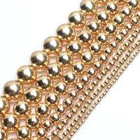 """Natuursteen licht goud vergulde hematiet ronde losse kralen voor sieraden maken DIY sieraden 15 """"Pick maat 2/3/4 / 6/8/10/12mm 1700 Q2"""