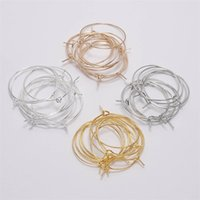 50pcs / lot 20 25 30 35 mm KC Gold Hoops 귀걸이 큰 원형 귀 와이어 후프스 귀걸이 DIY 쥬얼리 만드는 소모품 804 T2
