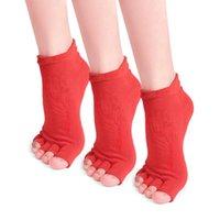 Пары йога носки нескользящие открытые пальцы хлопок с ручками для женщин Пилатес балетные танцевальные тренировки спорты
