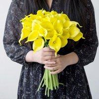 10 قطع calla زنبق الاصطناعي الزهور باقة الزفاف الزفاف عقد ديكور المنزل زهرة الديكور وهمية فلوريس الزخرفية