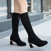 Boots Black Women Shoes 2021 Thigh High Zapatos Para Mujer For Heel Flock Knee-High Zip Round Toe