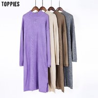 Toppies mujer vestido de punto vestido de suéter casual color sólido color suelto jerseys otoño invierno ropa