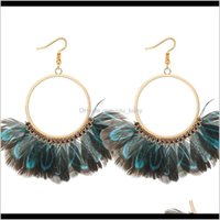 Chandelier Fashion Jewelry Womens Vintage Exaggerated Circle Peacock Feather Tassels Dangle Earrings S384 Zr3Nl Ocxpp
