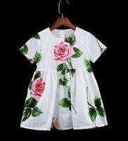 Sommerfamilie passende Outfits Mädchen Blume Baumwolle Kurzarm Kleid Kinder Prinzessin Druckkleider Mutter Tochter Elternkind Kleidung S1104