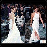 Landebahnkleider Frauen Kleidung Kleidung Kleidung Drop Lieferung 2021 Elegante Emma Watson Halfter Abendkleid Lange Chiffon Formale Urlaub tragen Party Gow