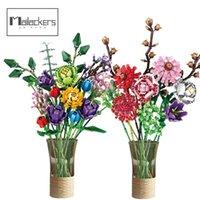 Mailackers creatore esperto diy 10280 fiori bouquet phalaenopsis rose amici moc piante in vaso costruzione blocchi giocattoli per ragazze 210803