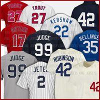 Молодежные дамы 99 Аарон Судья Бейсбол Джерси 2 Дерек Джер 22 Клейтон Кершоу 35 Коди Беллингер 27 Майк Форель 17 Шаухи Отани