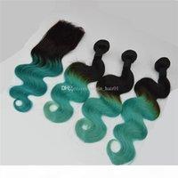 Zweifarbige menschliche Haarbündel mit Spitzenverschluss 1b grüne Coloed Hair Extensions Cosplay ziemlich schwärzlich grüne Haarbündel mit oberer Schließung