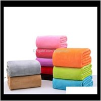 Textiles Home & Garden Drop Delivery 2021 Warm Flannel Fleece Blankets Soft Solid Bedspread Plush Winter Summer Towel Quilt Throw Blanket For