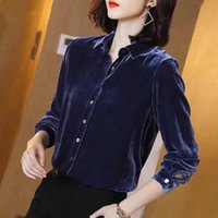 Women's Blouses & Shirts Fall Spring Office Lady Womens Long Sleeve Black Wine Red Navy Velour Blouse Shirt , Woman Clothes Tops