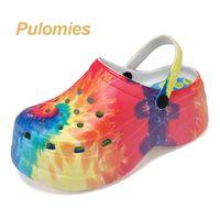 Summer Women Clogs Quick Dry Rainbow Tie Dye Thick Wedges Garden Shoes Beach Sandals Multicolor Slippers Flip Flops For Women