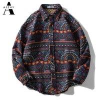 Айжи вязаная полоса в полоску Национальный стиль рубашки ретро кнопка с длинным рукавом негабаритная зимняя уличная одежда хип-хоп Harajuku повседневная вершины Tees 210628