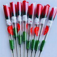 Simulación flor soltero rosas rojas Oso de dibujos animados con una etiqueta de corazón en forma de corazón Valentines Day Regalo Día de las madres Epacket de boda gratis 535 R2