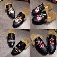 Moda Metal Terlik Hakiki Rahat Marka Flats Katır Erkekler Kürk Ayakkabı Princetown Zinciri W01 Bayanlar Deri Kadınlar Jihss