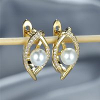 Hoop & Huggie Simple Fashion Small Round Stone Earrings Charm Gold Silver Color Vintage Hollow White Pearl For Women Wedding