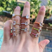 10PCS, Fashion Colorful Finger Jewelry Gold Color Neon Enamel Bling White CZ Band Ring For Women