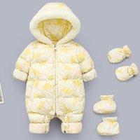 Down Coat Toddler Boys Jumpsuit Russian Winter Baby Rompers Hooded Plus Velvet Warm Born Snowsuit Girls Overalls