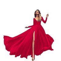 Katı Yüksek Bölünmüş Salıncak Elbise Kadın V Yaka Uzun Kollu Düğün Akşam Maxi Elbiseleri Kadınlar Için Seksi Parti Kulübü Kıyafetler Yaz
