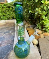 26CM 11 Inch Glass Bongs Green Vintage Assorted Color Hookah Twisted Filter Tube Oil Rigs Bubbler Water Pipe Bong 14mm Bowl US